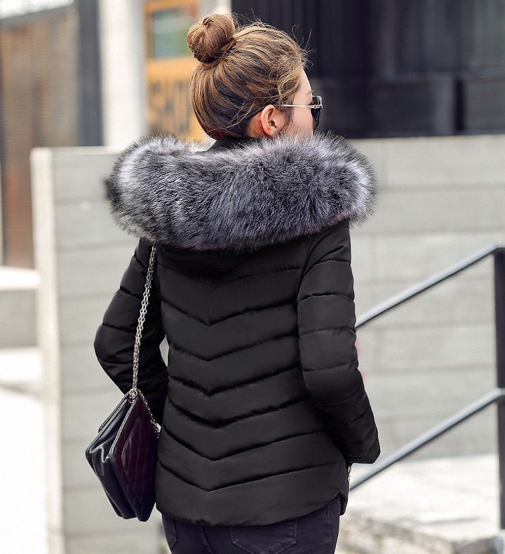 Black Womens Parka Fake Raccoon Fur Collar Parka Down Cotton Jacket Winter Jacket Thick Snow Wear Coat Lady Clothing Female Jackets Parkas