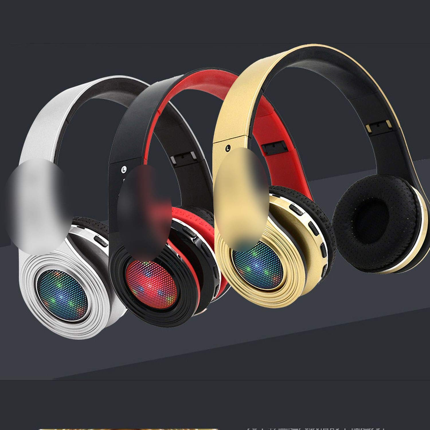 Amazon.com: Glowing Bluetooth Fone Stereo Bass Headsets Built-in Mic LED TF FM Radio for Phones PC,Blue: Cell Phones & Accessories