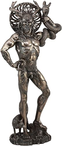 Ebros Large Cernunnos Statue 18.25 Tall Celtic Horned God Wiccan Figurine Deity of Animals Fertility Life and The Underworld