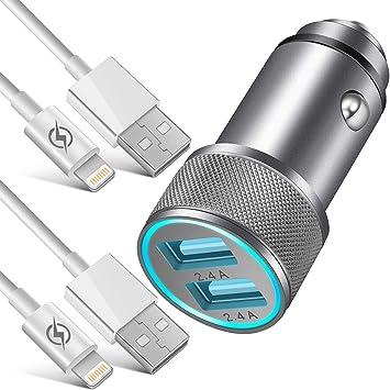 Amazon.com: NICE cargador de coche, 2.4 A, doble puerto USB ...