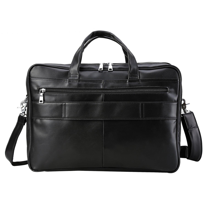 Polare Men's Real Leather Professional 17.7'' Briefcase Shoulder Messenger Business Bag by Polare (Image #4)