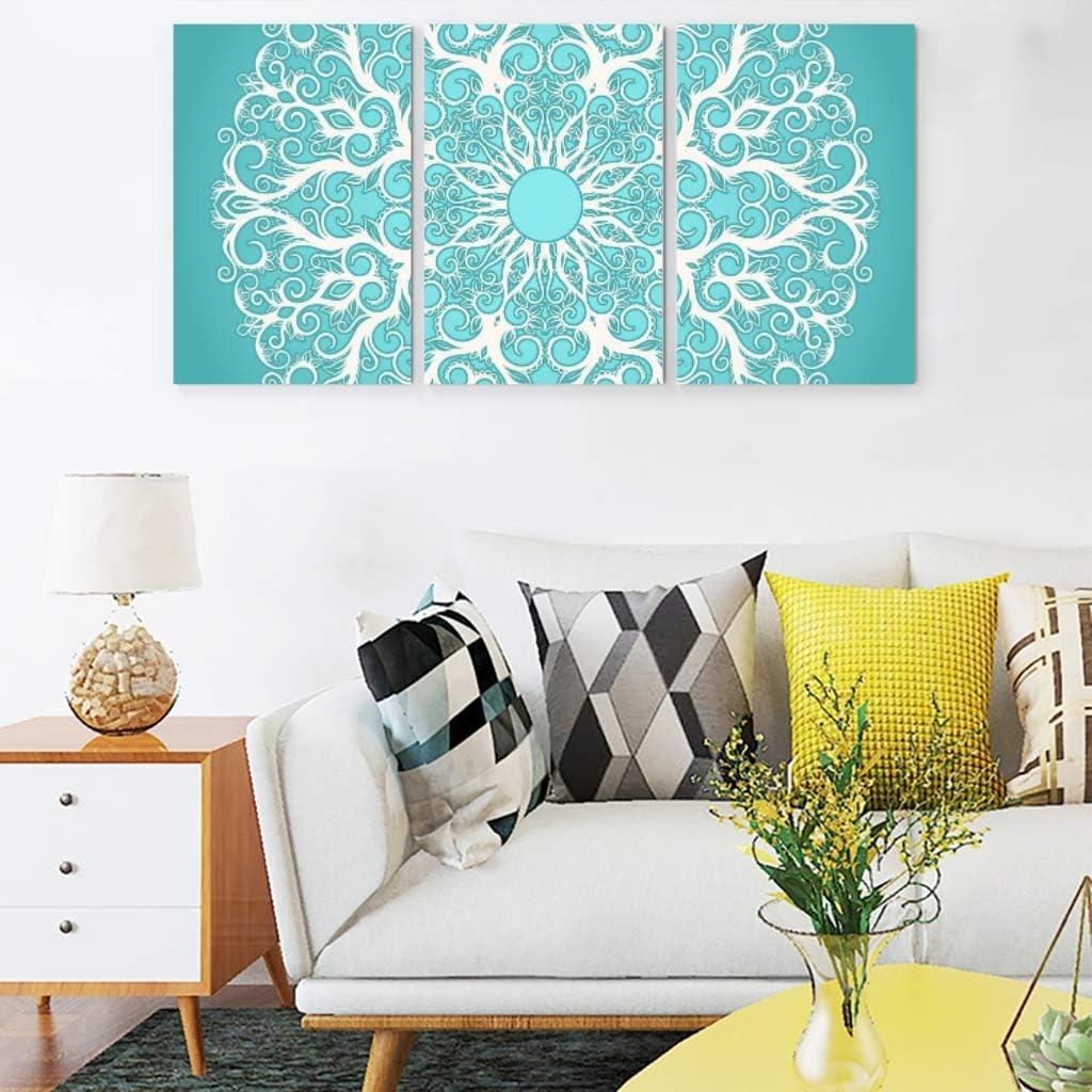 Cuadros de impresión en lienzo de estilo étnico con mandala turquesa, impermeable, decoración para el hogar, el salón, la habitación, sin marco, 3 piezas, lona, blanco, 30 x 40 cm