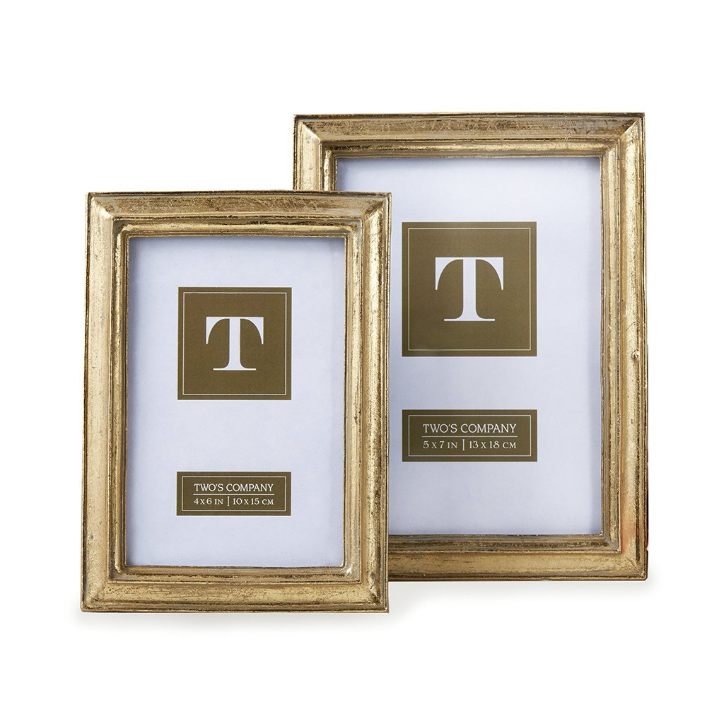 Amazoncom Twos Company Gold Leaf Photo Frames Includes 2 Sizes