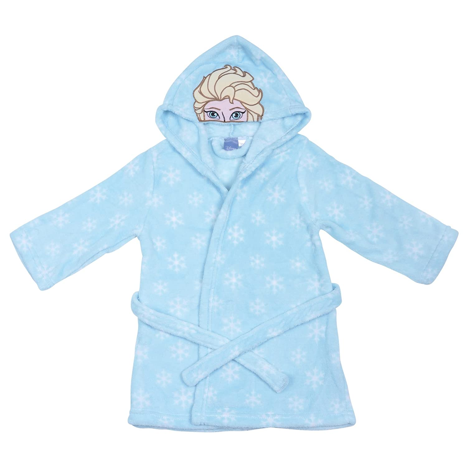 Disney Frozen Turquoise Fleece Dressing Gown Snowflake Girls Hooded Robe Age 2-3
