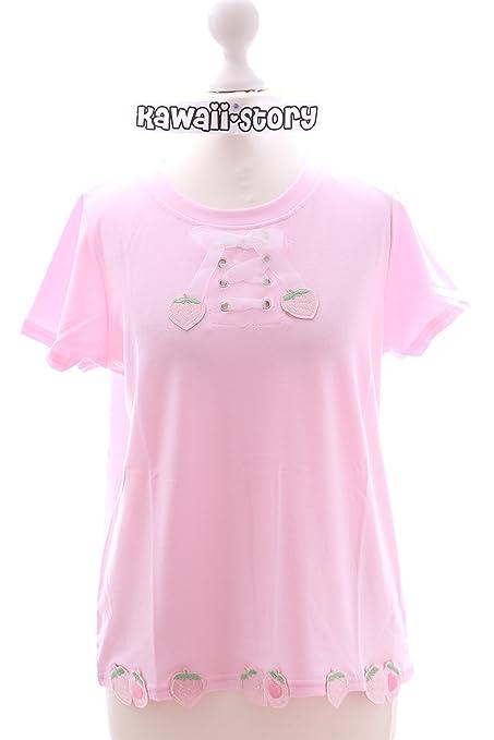 Kawaii-Story - Camiseta - para Mujer Rosa Rosa Talla única: Amazon.es: Ropa y accesorios