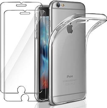 Leathlux Funda + 2X Cristal para iPhone 6 / 6s, Transparente TPU Silicona [Funda + 2 Pack Vidrio Templado] Ultra Fino Protector de Pantalla 9H Dureza + Flexible Back Case Cover para iPhone 6s / 6: Amazon.es: Electrónica
