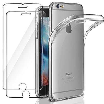 Leathlux Funda + 2X Cristal para iPhone 6 / 6s, Transparente TPU Silicona [Funda + 2 Pack Vidrio Templado] Ultra Fino Protector de Pantalla 9H Dureza ...