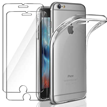 21de5ce8de4 Funda + 2x Cristal para iPhone 6 / 6s, Leathlux Transparente TPU Silicona  [Funda