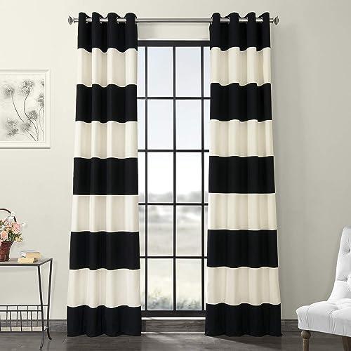 HPD Half Price Drapes PRCT-HS06-120-GR Horizontal Grommet Stripe Cotton Curtain 1 Panel