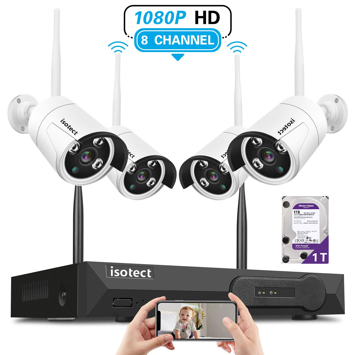 2019 Newest Wireless Security Camera System, Isotect Full HD 8CH 1080P WiFi NVR Kit with 4pcs 1080P Indoor Outdoor Wireless Video IP Cameras, Remote Playback, 65ft Night Vision, 1TB Hard Drive