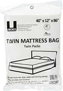 """Uboxes Twin Size Mattress Covers, 40"""" x 12"""" x 86"""", Clear, 2 Pack"""
