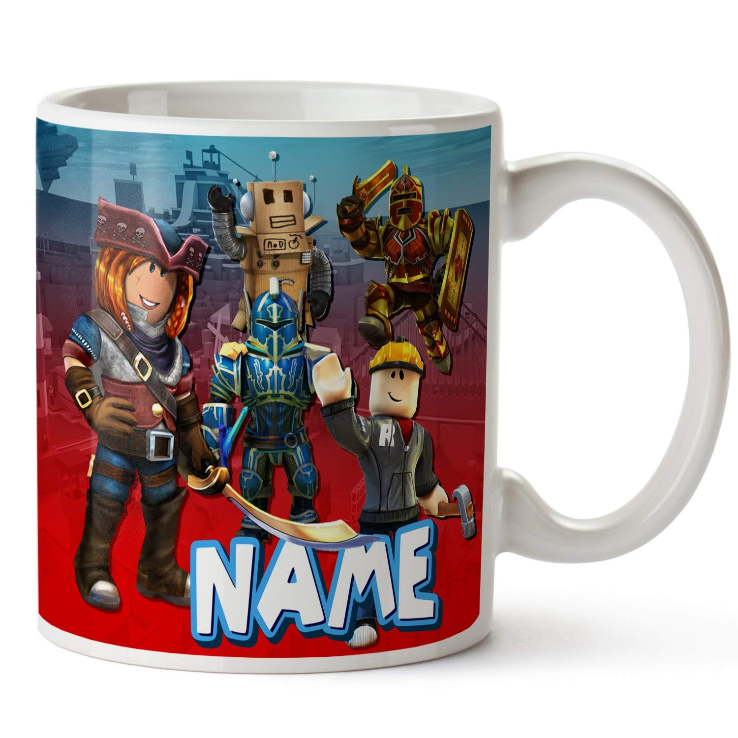 Personalised Name Mug Roblox Gamer 11oz Ceramic White Cup Gift RB02