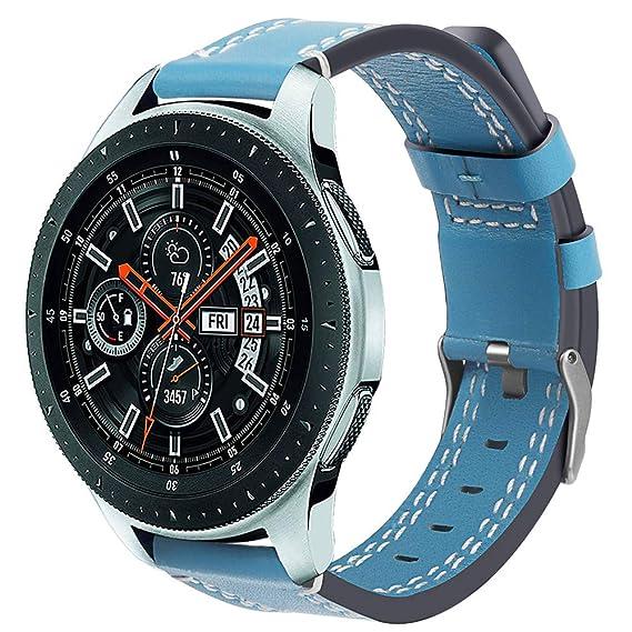 Hombre Mujer Reloj Banda De Cuero De Lujo Pulsera Reloj Pulsera para Samsung Galaxy Watch 46Mm