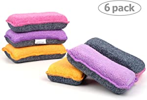UPSTAR Microfiber Scrubber Sponge, Non-Scratch Kitchen Scrubbies, Dishwashing and Bathroom Sponges, Size.L Pack of 6