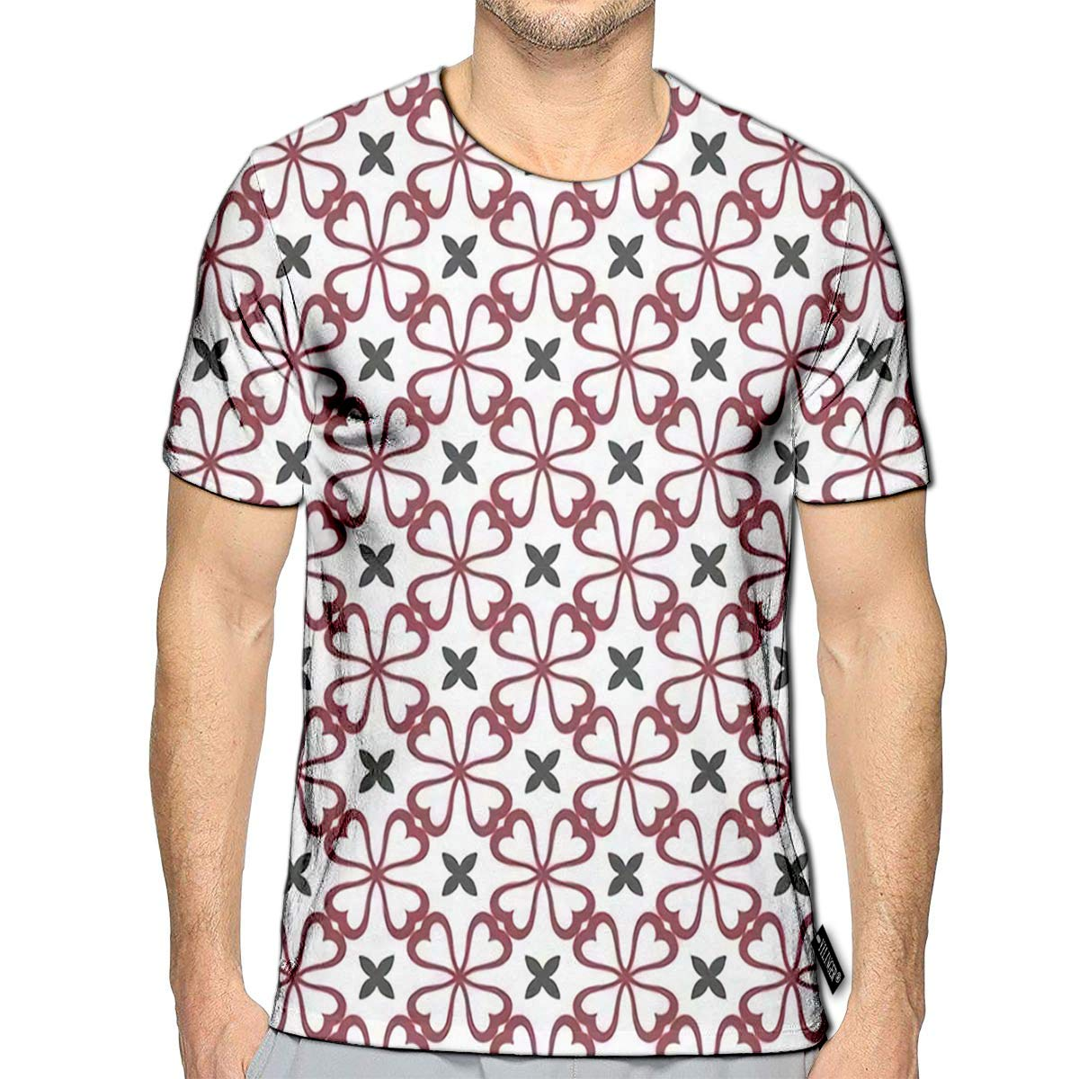 YILINGER 3D Printed T Shirts Abstract Geometric Lines Oriental Ornaments Patterns Casual Mens Hipster Top Tees