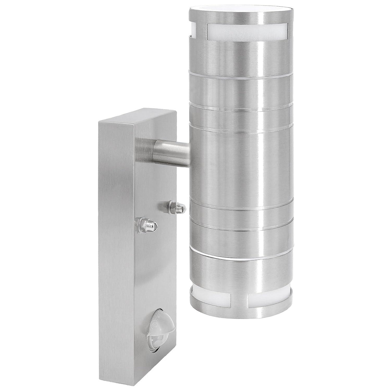 Edelstahl Wandleuchte aussen mit Bewegungsmelder & Dämmerungssensor 2-Flammig up & down für GU10 Leuchtmittel LED oder Halogen SSC-LUXon
