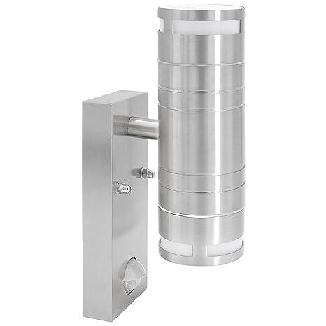 Acero inoxidable lámpara de pared exterior con detector de movimiento y sensor crepuscular de 2 focos