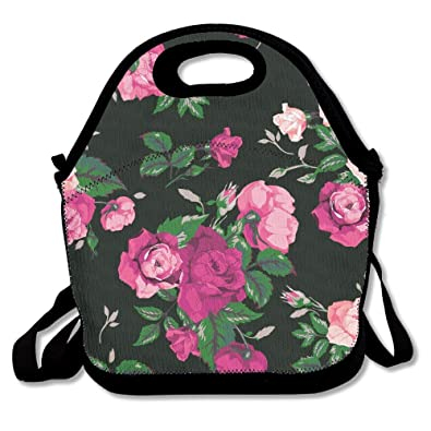 d53099956ee5 Rose Floral Pattern Roses Prints Textures Insulated Lunch Bag - Neoprene  Lunch Bag - Large Reusable