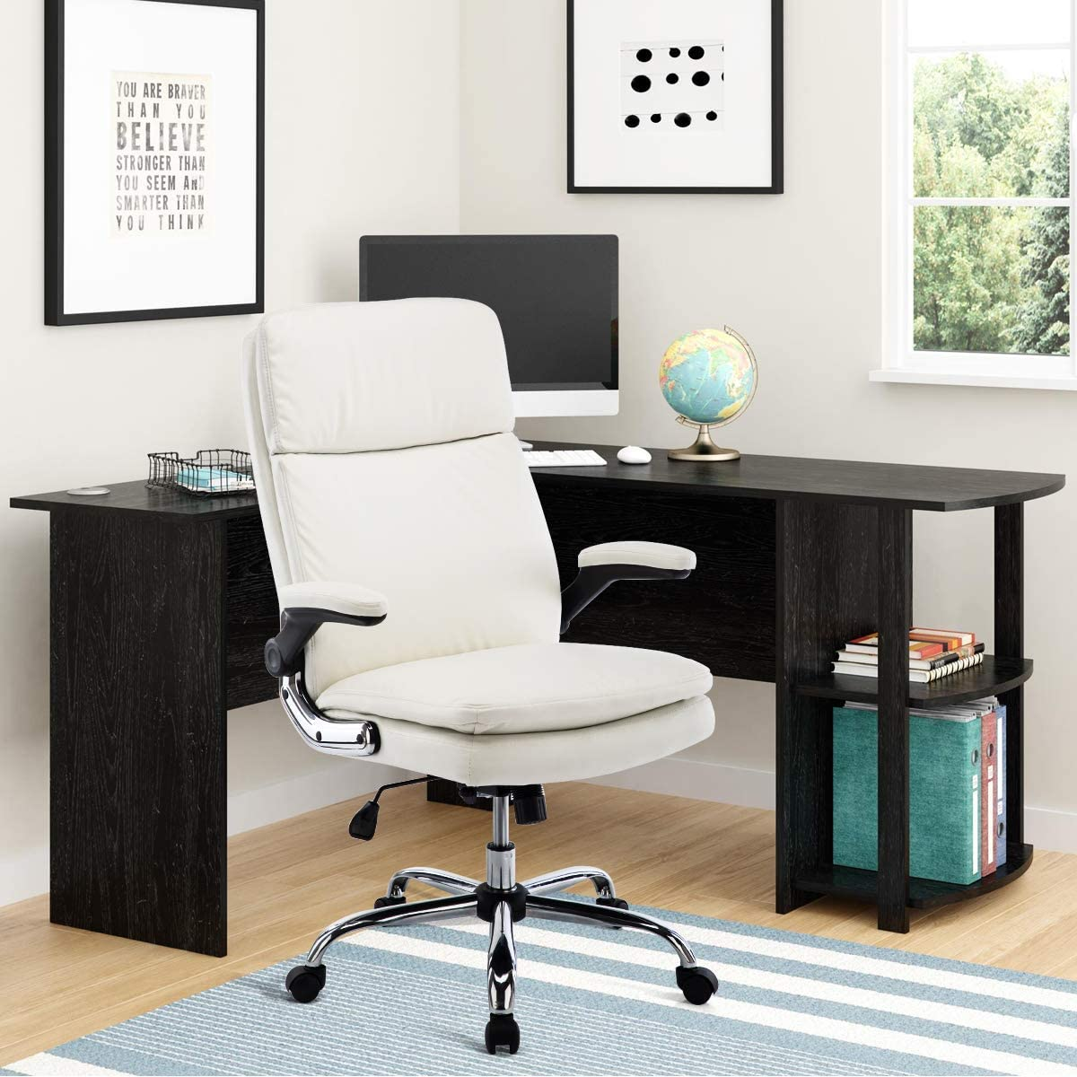 SP PU Office Chair Adjustable Tilt Angle and Flip-up Arms Executive Computer Desk Chair, Thick Padding for Comfort and Ergonomic Design for Lumbar Support (6133WH)