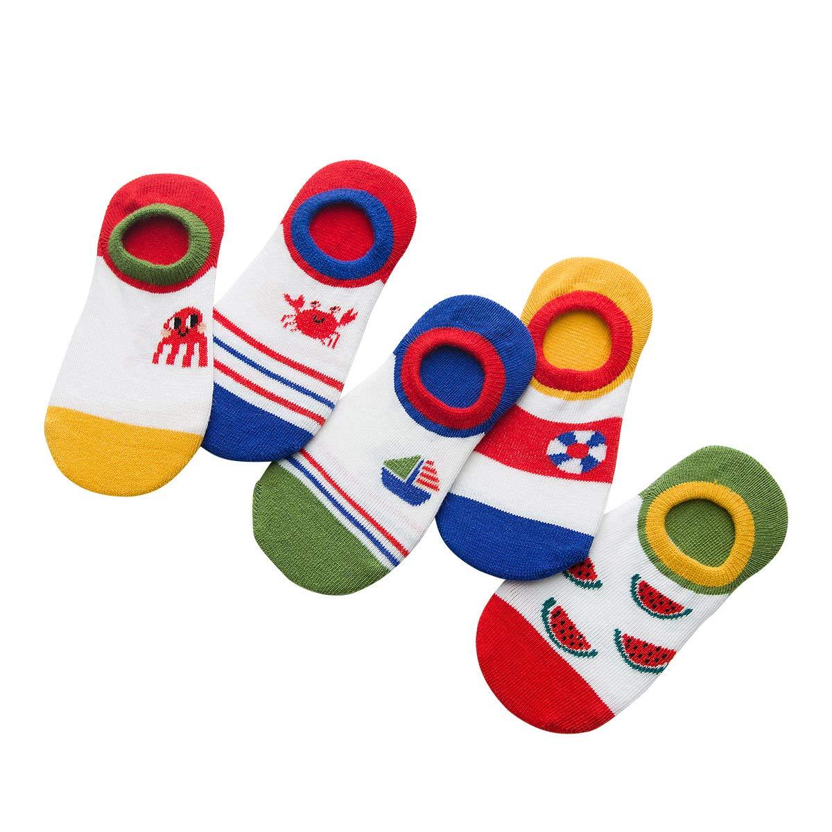 Rallytan Kids Cotton Socks Cartoon Basic No show Socks Flat Boat Line 5 Pair