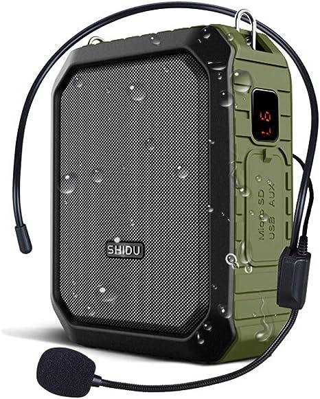 W WINBRIDGE® Amplificador de voz para exteriores Portátil con auriculares con Micrófono 18W 4400mAh Bluetooth Grabación de a prueba de agua para profesores, guías turísticos M800 (Con cable): Amazon.es: Instrumentos musicales
