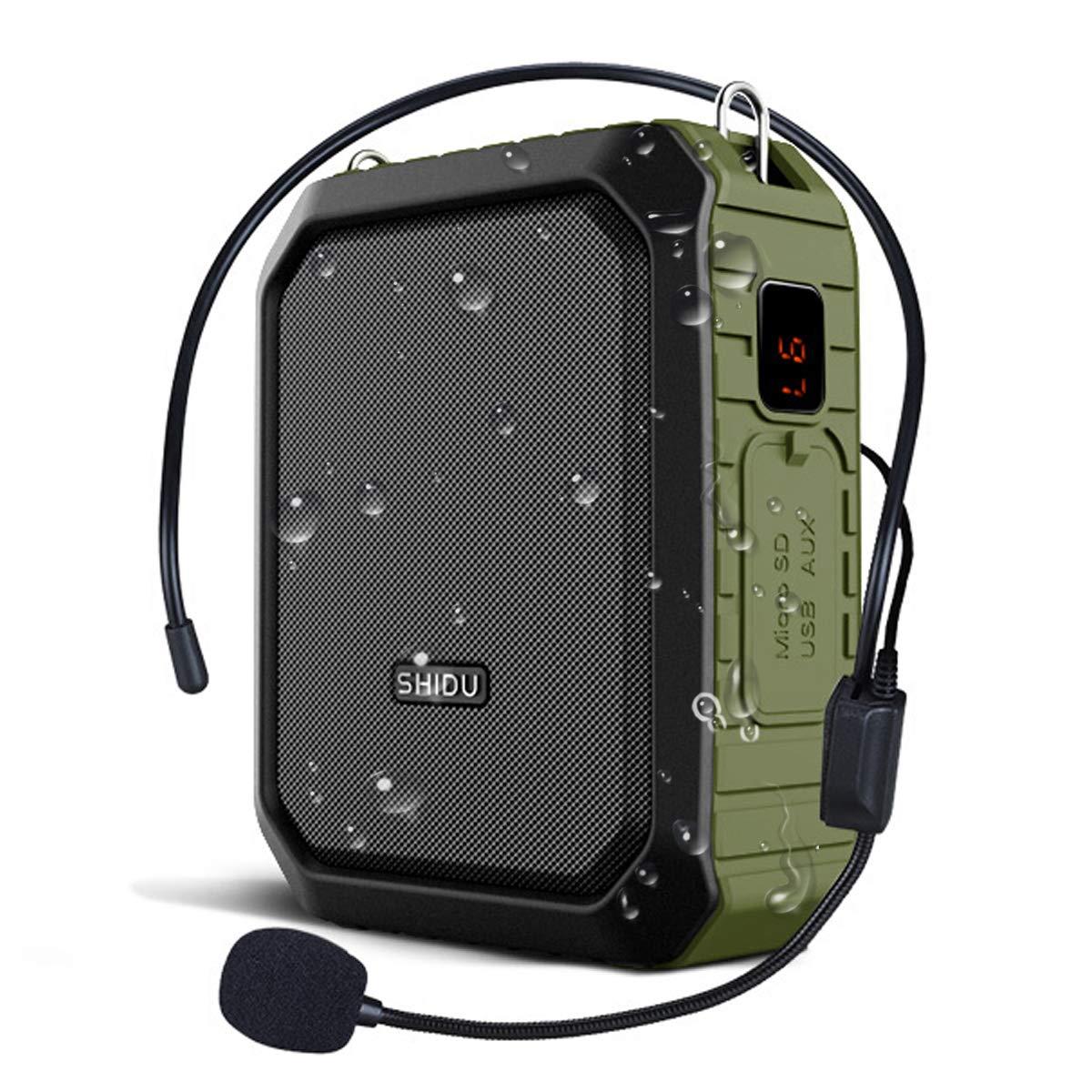 Updated WinBridge Voice Amplifier Microphone Headset Wired Loudspeaker Voice Changer Megaphone Portable Microphone Mini Amp Pa System for Teachers Parkinsons Outdoors Waterproof 18W by W WINBRIDGE