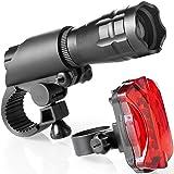 PAKA 自転車ライトLEDズームフロントライト防水ヘッドライトとテールライト3モード互換性のある懐中電灯のインストールリアライト付きの簡単な明るい強力なライト
