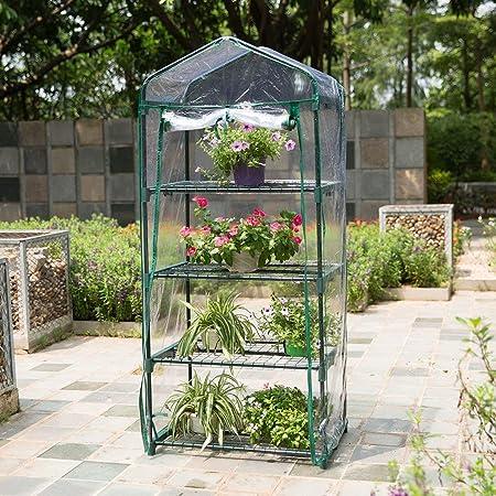 ZCCWS Jardín Caminata Grande al Aire Libre Tomate Verduras Invernadero Crecer Casa Verde Sombra Marco de Metal Compacto PVC Plástico Cubierta Planta Flores: Amazon.es: Hogar