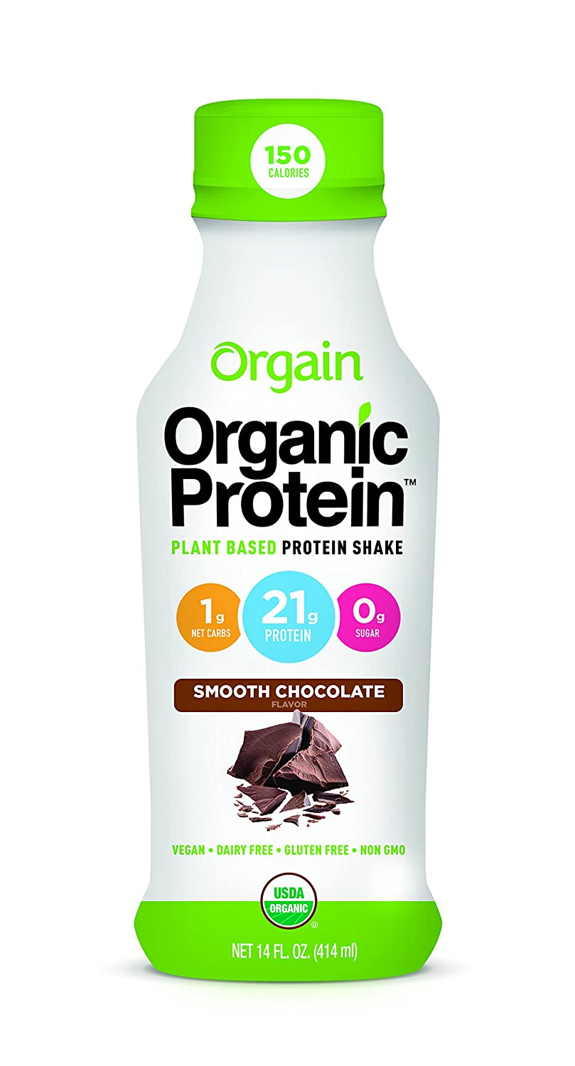 Amazon.com : Orgain Organic 21g Plant Based Protein Shake, Smooth  Chocolate, Vegan, Gluten Free, Non-GMO, 14 Ounce, 12 Count : Grocery &  Gourmet Food