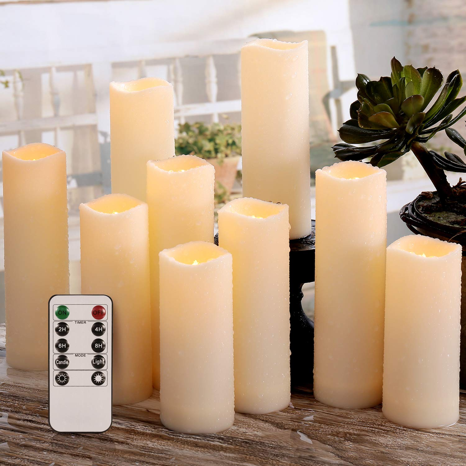 Flameless Candles, Waterproof Outdoor Candles set of 9 ( D 2.2'' X H 5''5''6''6''6''7''7''7''7'' ) LED Candles Battery Operated Candles with Remote Timer, Ivory White by Enido (Image #3)