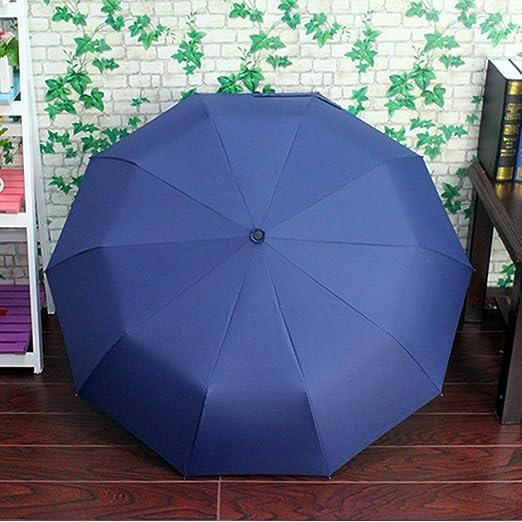 Zanteca - Paraguas portátil para todo tipo de clima, triple, plegable, anti rayos UV, resistente al sol, sombrilla automática, azul marino: Amazon.es: ...