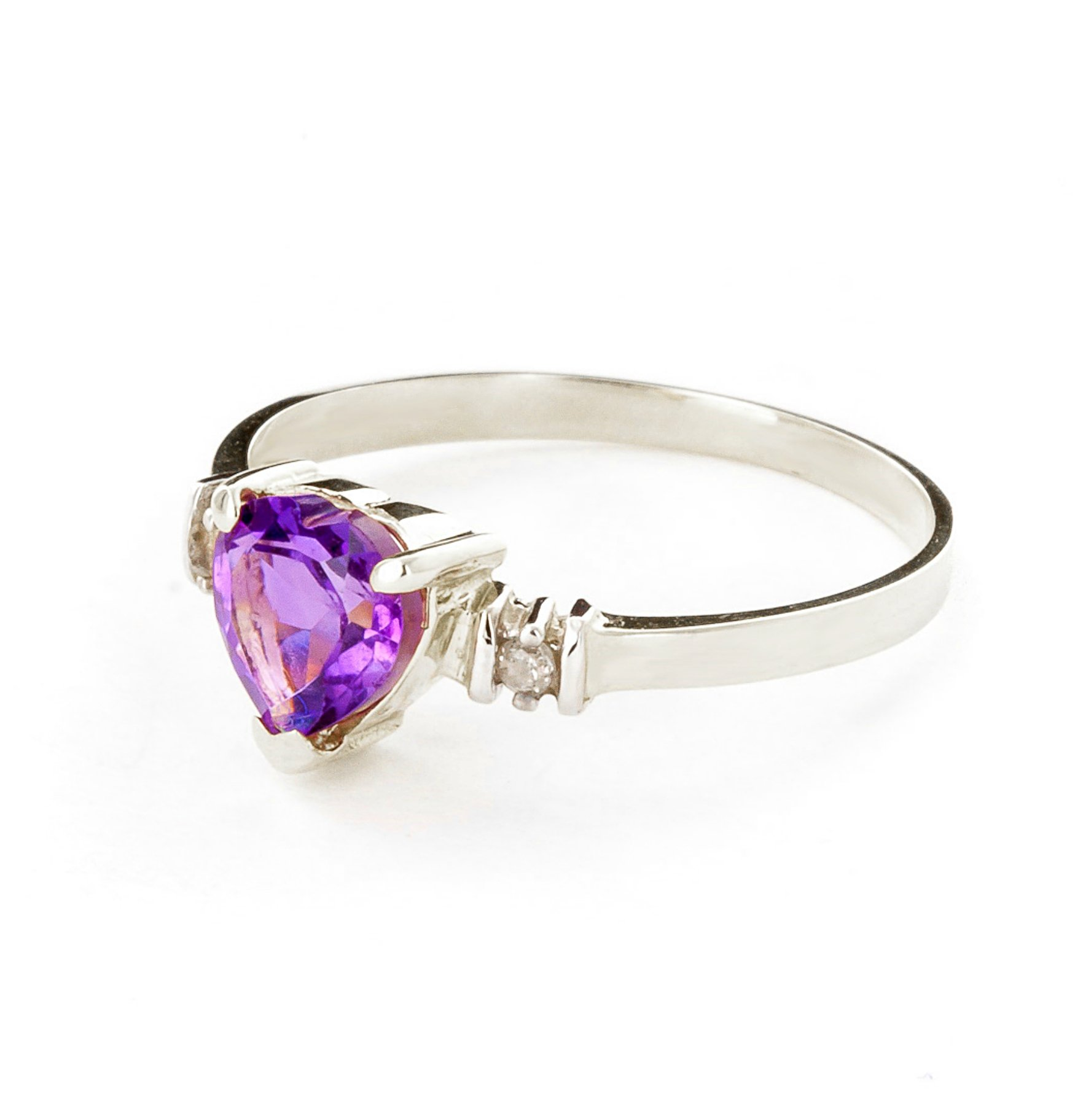 14k White Gold Ring with Genuine Diamonds and Natural Heart-shaped Purple Amethyst - Size 11 by Galaxy Gold (Image #2)