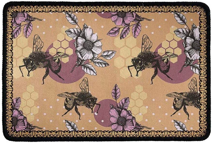 chaqlin Floral Yorkie Pattern Entrance Doormat Indoor Welcome Door Mats Entry Way Doormats Floor Mats Bath Mat Shoe Scraper for Kitchen Bathroom Home Decor 15.7 in x 20.5 in Bee