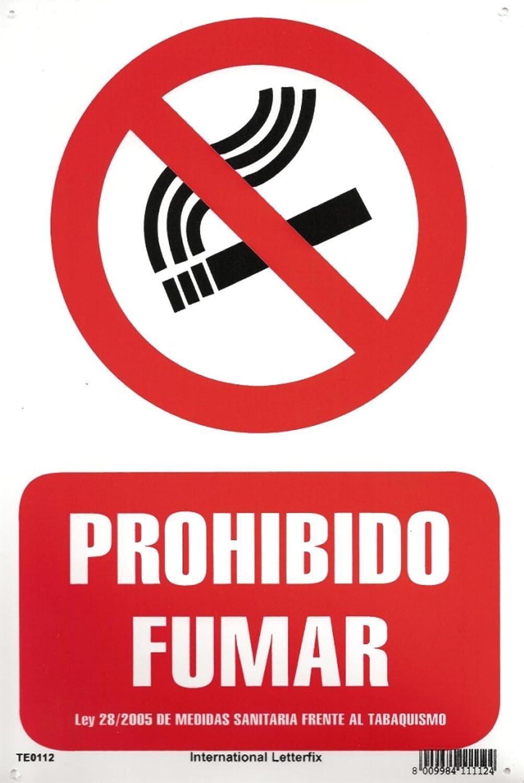 PROHIBIDO FUMAR. CARTEL LETRERO 20 X 30 CMS. PLACA PLASTICA ...
