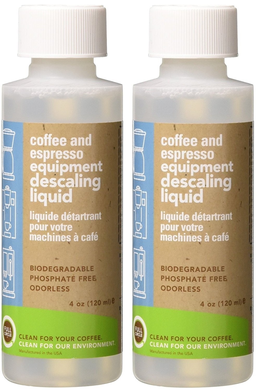 Full Circle Coffee and Espresso Descaler and Cleaner Liquid - 4 oz [ 2 Single Use Bottles ] - Safe On Keurig Delonghi Nespresso Ninja Hamilton Beach Mr Coffee Bruan and More