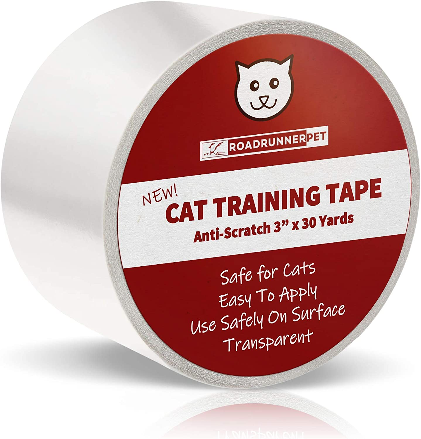 Roadrunner Pet Anti-Scratch Cat Training Tape, Cat Scratch Prevention Tape for Furniture, Cat Training Tape, Pet Scratch Protector, 3 Inches x 30 Yards