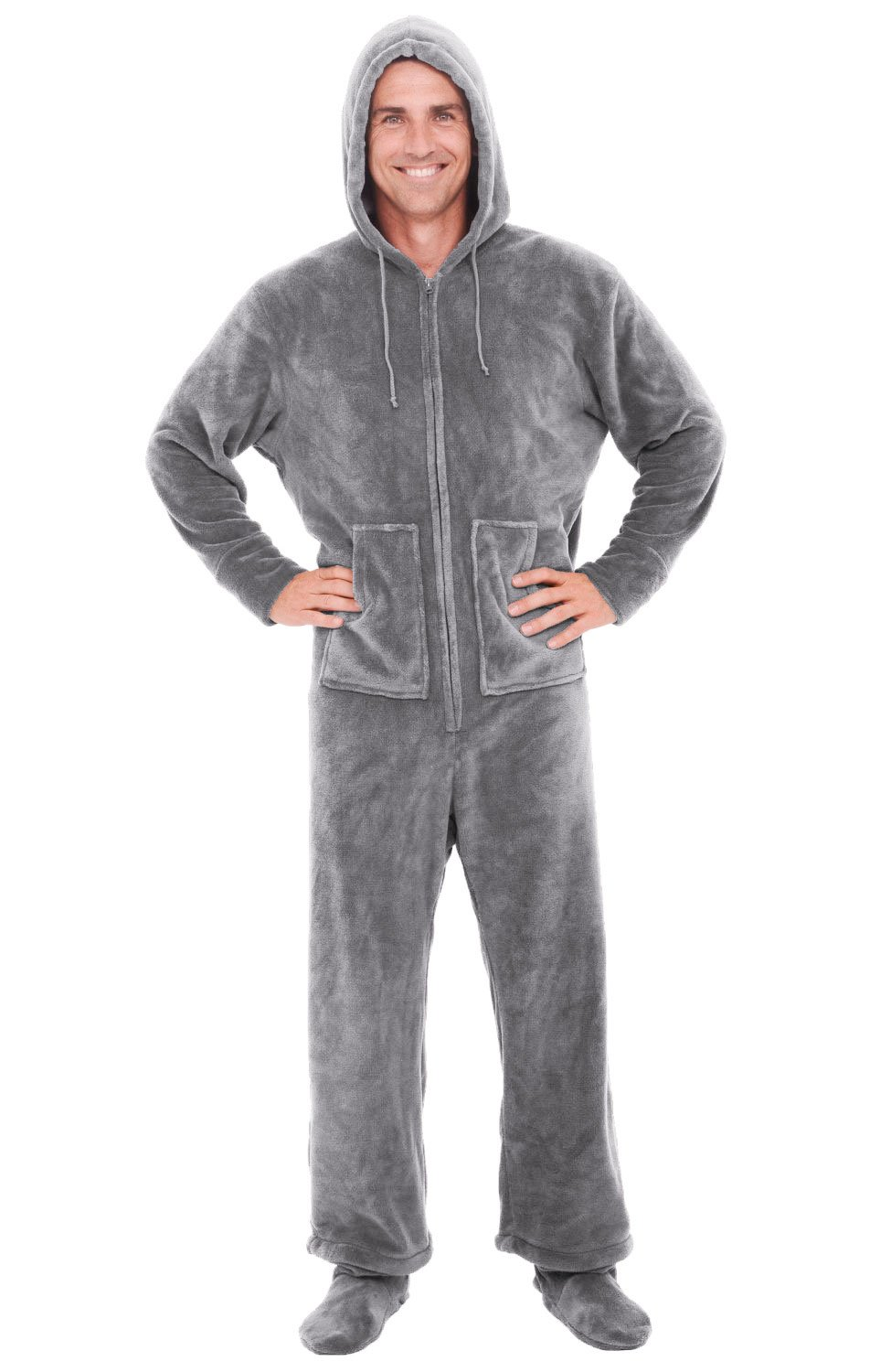 Del Rossa Microfleece Footed Pajamas, Steel, Large (A0320STLLG)