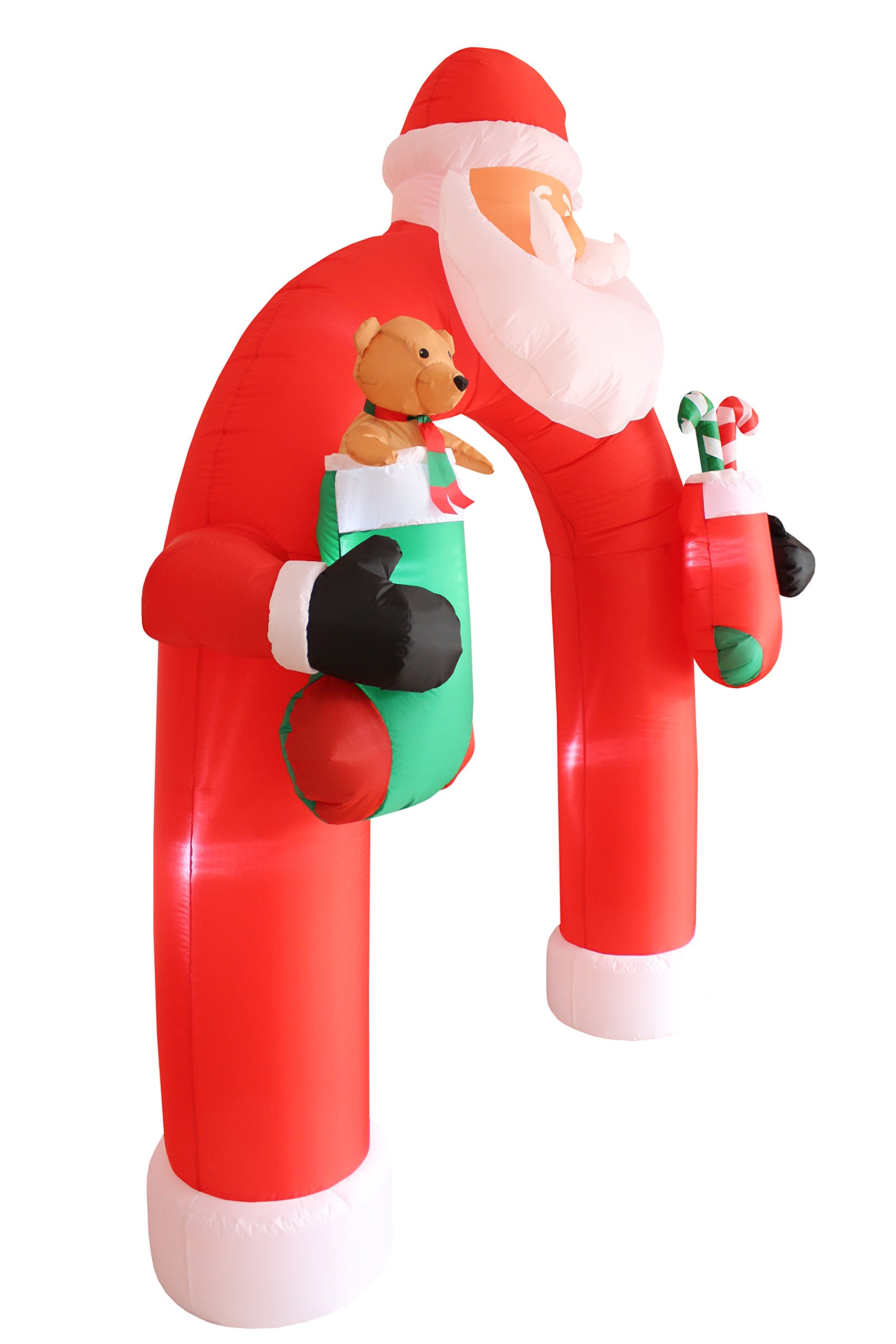 9 Foot Tall Lighted Christmas Inflatable Santa Claus Archway Arch with Teddy Bear Sugar Cane Cute Indoor Outdoor Garden Yard Party Prop Decoration by Blossom (Image #3)
