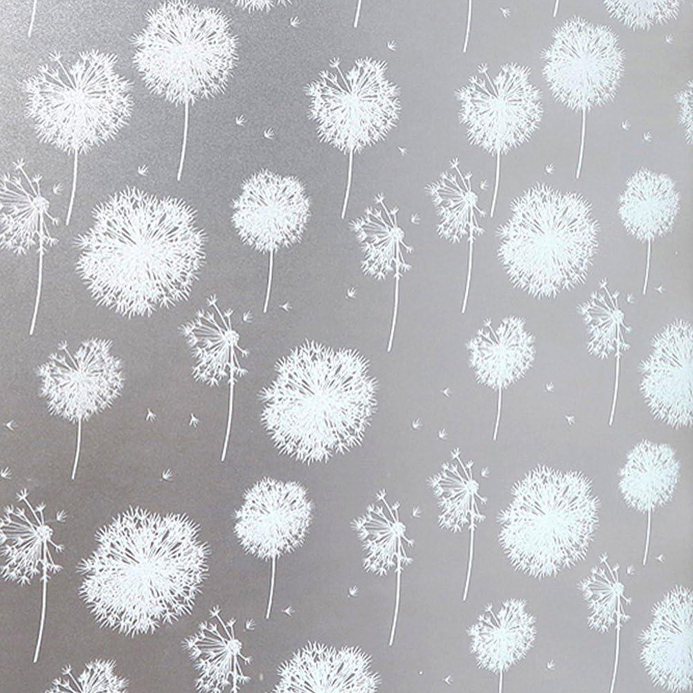 Blanc Diaphane Vason Film Electrostatique Film Vitre D/époli D/écoratif /Non-Adh/ésif/Sticker Vitre Anti Regard Autocollant de Fen/être/ Facile /à Installer Fen/être Mate Anti UV 90/_x/_200/_cm