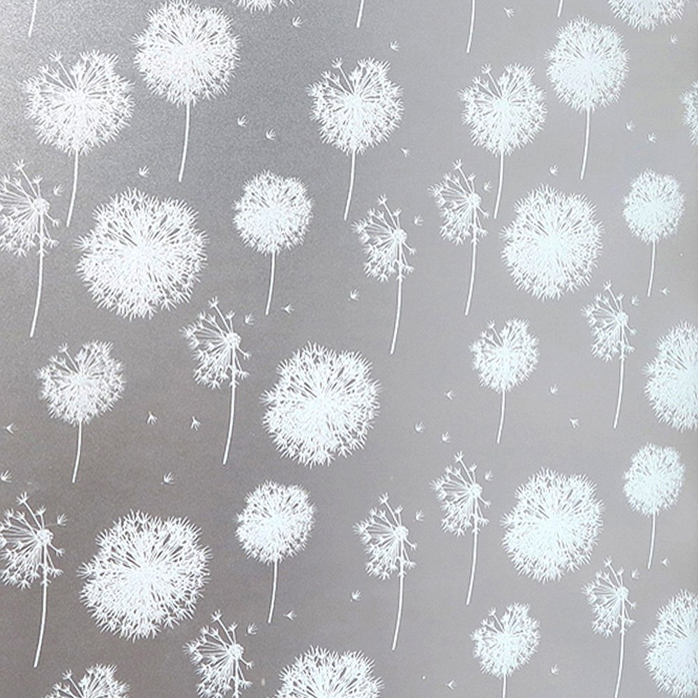(Dandelion)Static Window Film Anti-UV Glass Decorative Privacy Film Premium No-Glue Reusable Removable Window Film for Home Rental Apartment Living Room Bedroom Kitchen Lobby Porch Office Meeting Room (Dandelion) B074S5PF18  タンポポ