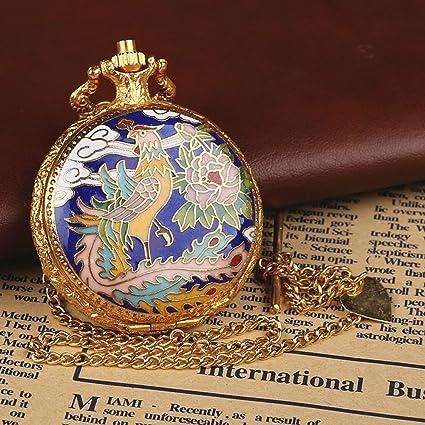 QB-Pocket watches Reloj de bolsillo digital mecánico hueco manual antiguo retro manual viejo de