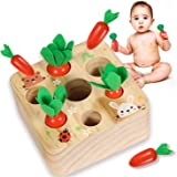 YOFUN Montessori Toys for Toddler - Carrot Harvest Wooden Matching Puzzle, Shape & Size Sorting Games for Developing…