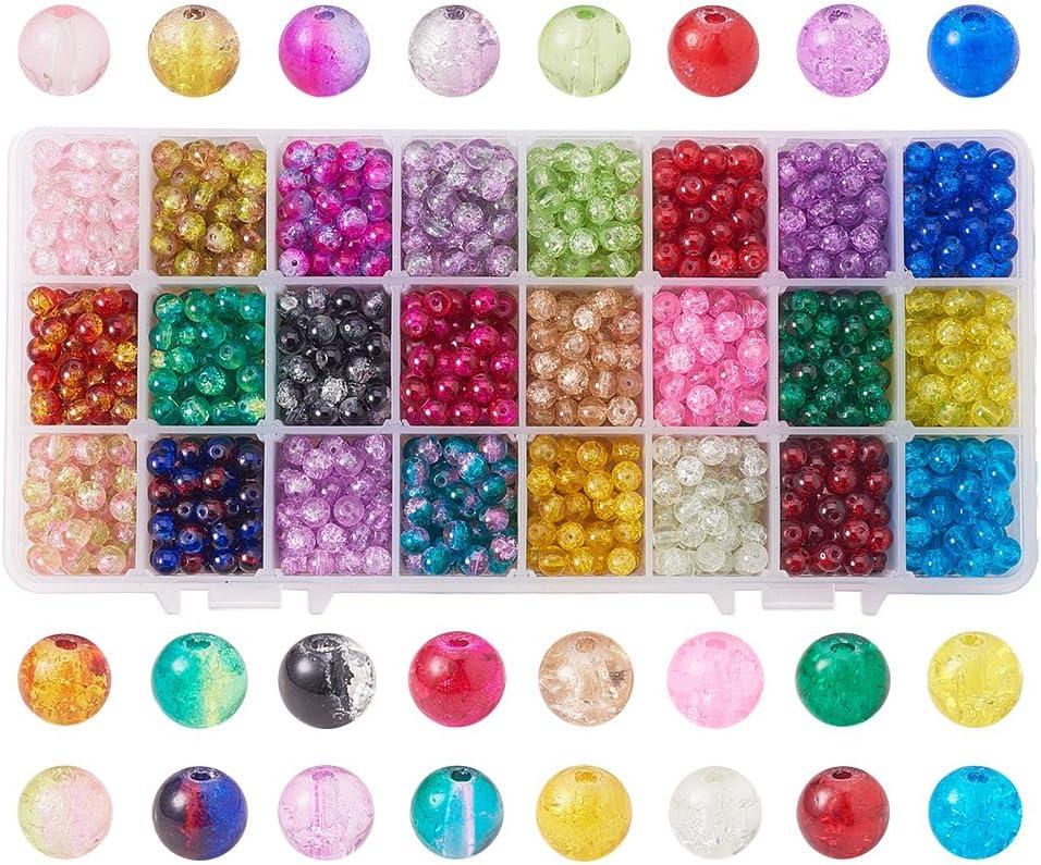 20 Perles en Verre Craquelé Mixte 8mm perle fissuré creation bijoux collier