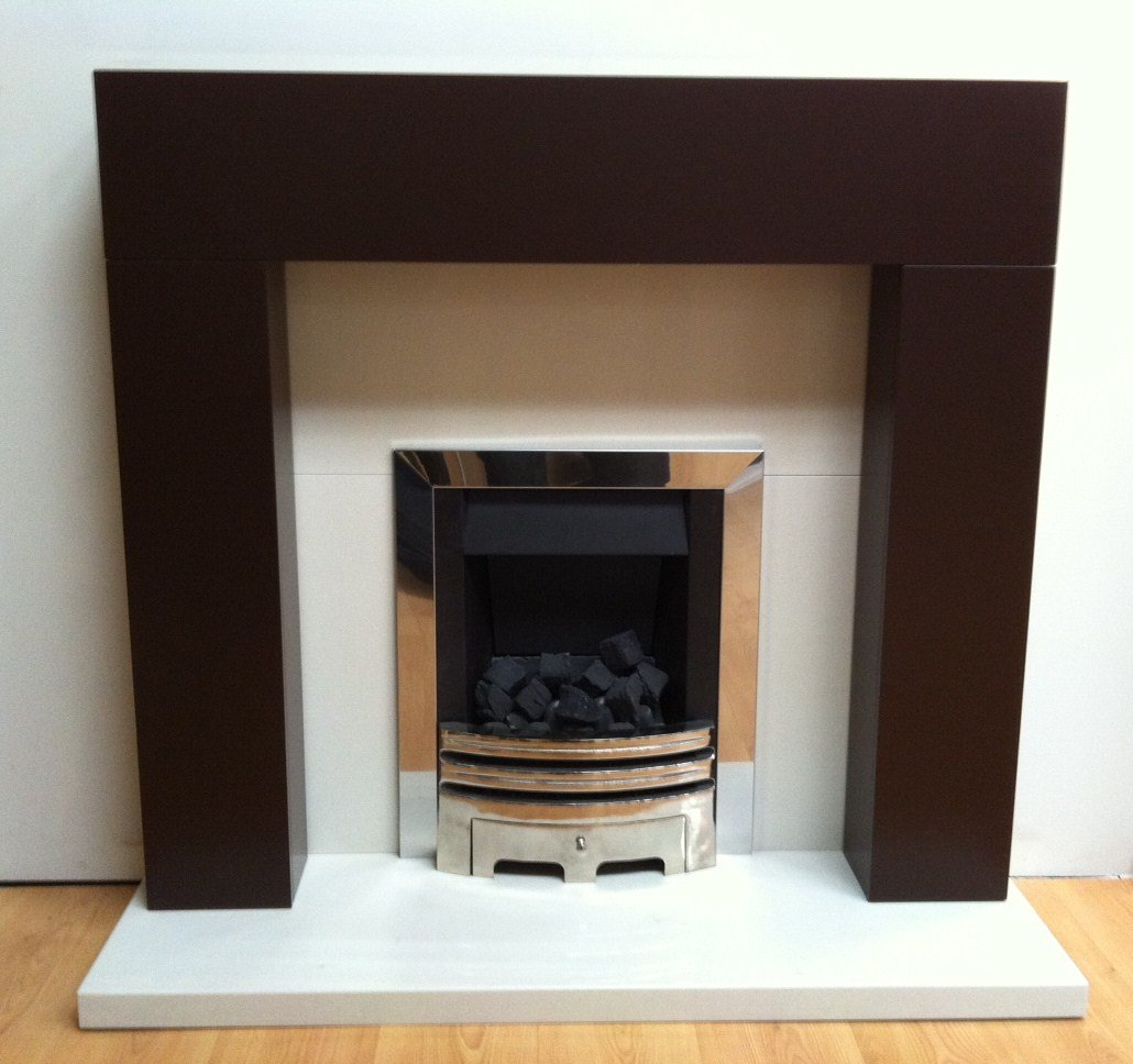 barnsouth orbit in chocolate brown fireplace with cream marble