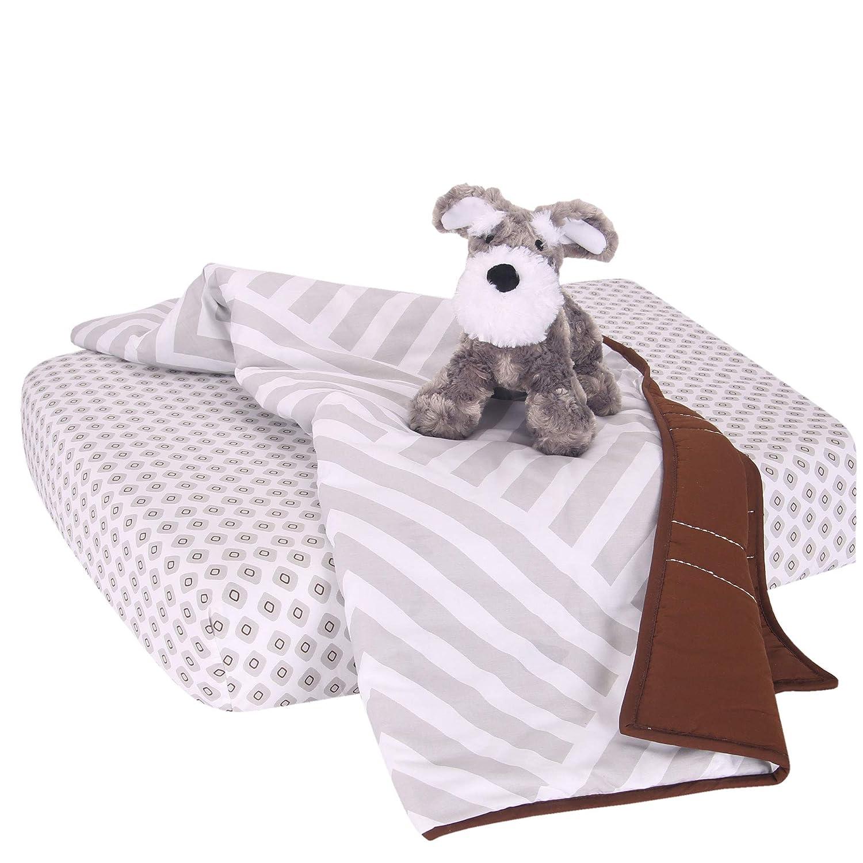 Lambs /& Ivy Pink//Gray//White Bunny 3-Piece Baby Crib Bedding Set