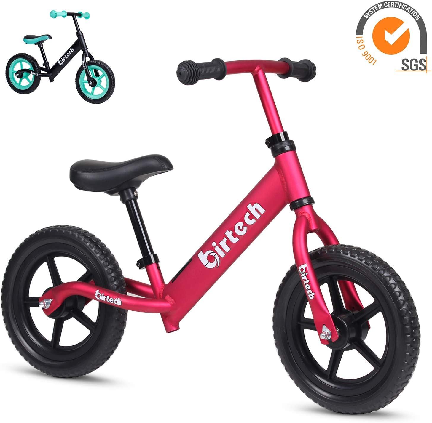 Birtech Laufrad Balance Fahrrad 12 Zoll Kinderrad Lauffahrrad Sport Fahrrad mit Stahlrahmen Verstellbarer Lenker /& Sitz f/ür Kinder,Blau