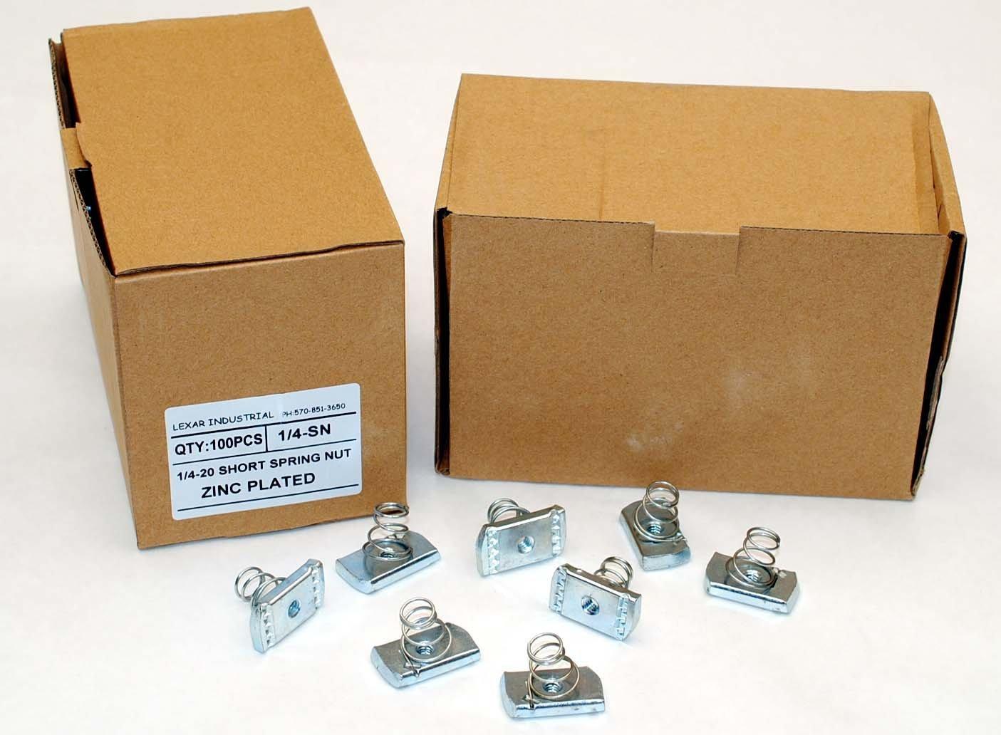 Strut Channel Nuts 1//4-20 Short Spring Zinc Plated Unistrut Nut 100
