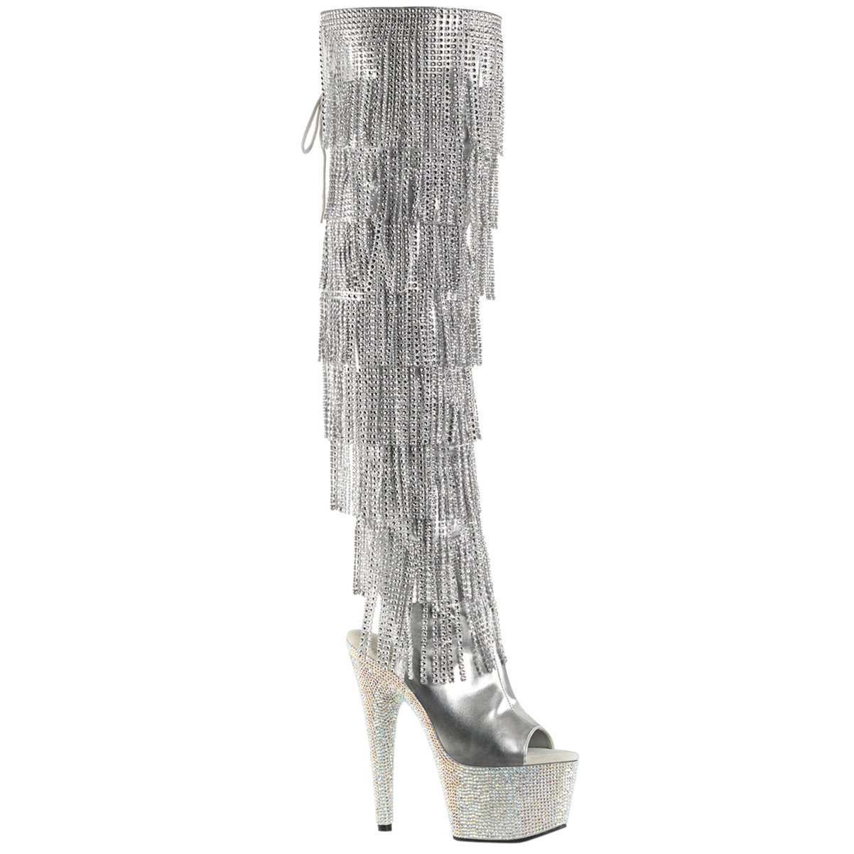 Womens Over The Knee Heel Boots Silver Fringe Rhinestone Shoes 7 Inch Heels Size: 7