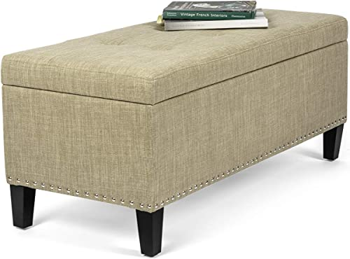 Adeco Rectangular Tufted Lift top Storage Ottoman Bench