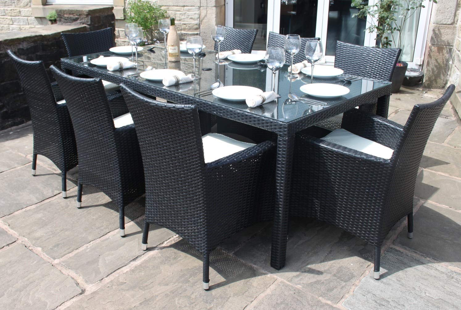 e1ee06b327 Rattan Dining Furniture Set| 8 Seater |Dining Table + 8 Chairs | Rattan  Furniture (Black): Amazon.co.uk: Garden & Outdoors